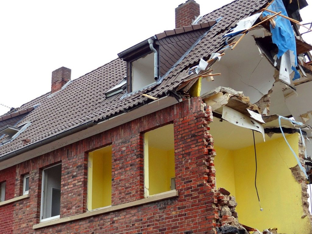 crash, demolition, house